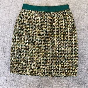 Kate Spade Skirt Green Gold Boucle Tweed Size 0